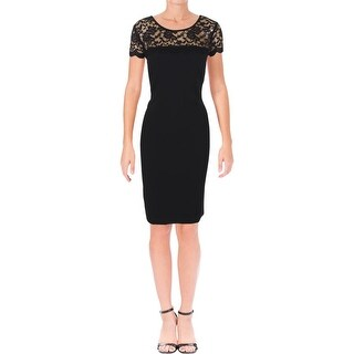 Connected Apparel Womens Cocktail Dress Lace Yoke Knee-Length - 12
