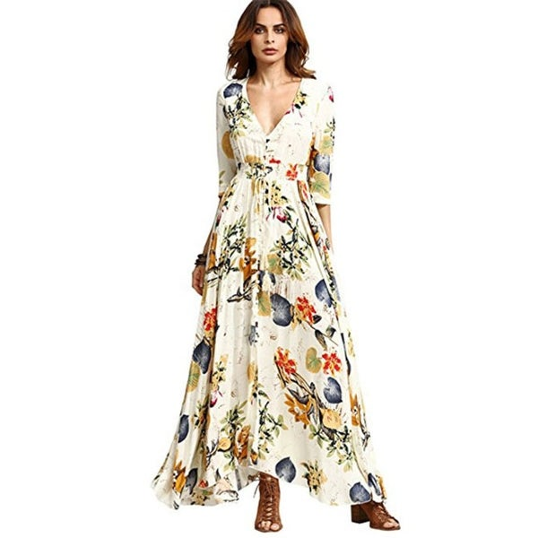 45359b4544189 Shop Women's Button Up Split Floral Print Flowy Party Maxi Dress ...