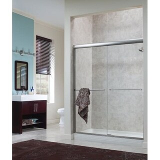 """Foremost CVSS4265-CL Cove 65"""" High x 42"""" Wide Sliding Framed Shower Door with 1/ - Silver"""
