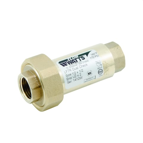 "Watts 0072203 1/2 X 1/2"" Lead Free Residential Dual Check Valve With - Natural"