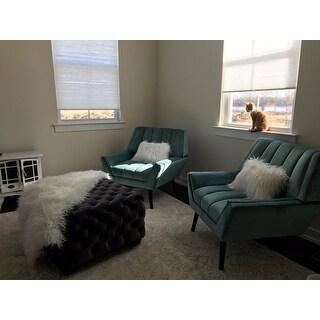 Handy Living Houston Mid Century Modern Turquoise Blue Velvet Arm Chair