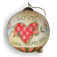 "Ne'Qwa ""Love One Another"" Hand-Painted Blown Glass Ball Christmas Ornament #771 - WHITE"