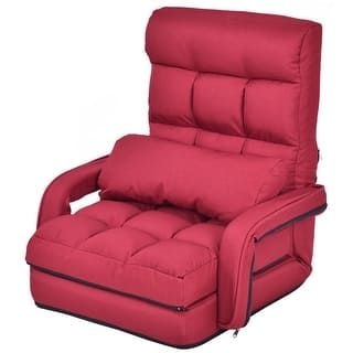 Gymax Red Folding Lazy Sofa Floor Chair Lounger Bed With Armrests And A Pillow