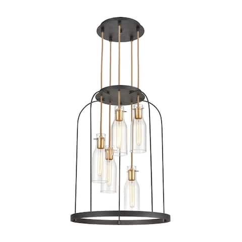 5-Light Clear Glass Chandelier In Silverdust Iron Satin Brass Finish - Mid-Century Modern Style
