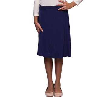 Karen Michelle Girls Navy-Line Knee Length Cotton Skirt
