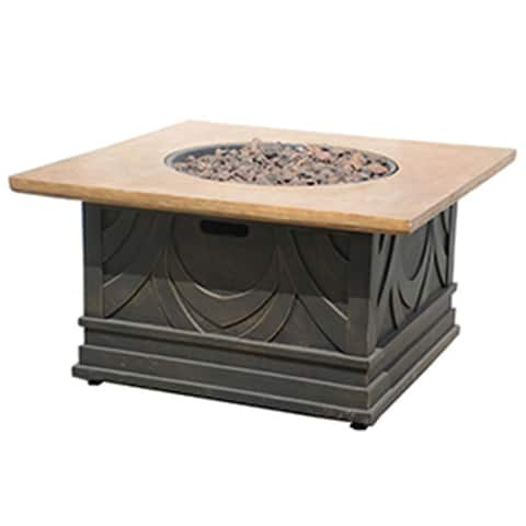 40 Antique Bronze Gas Outdoor Patio Envirostone and Marble Fire Table