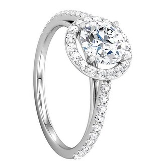 VIVIENNE Pavé Halo Four Prong Solitaire Palladium Engagement Ring - MADE WITH SWAROVSKI® ELEMENTS - White