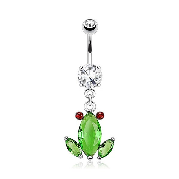 Crystal Frog Dangle Navel Belly Button Ring 316L Surgical Steel