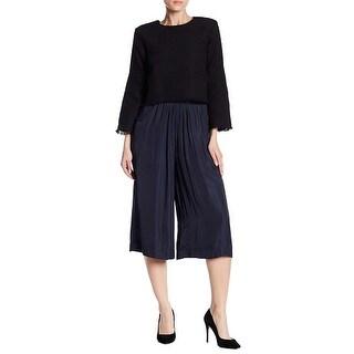 Tart Navy Blue Women's Size Medium M Wide Capris Cropped Pants