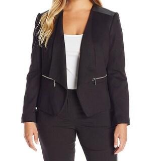 Nine West NEW Black Womens Size 22W Plus Faux-Leather Trim Jacket