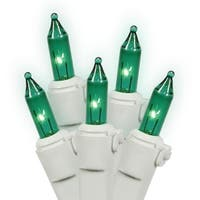 Set of 100 Green Mini Christmas Lights - White Wire