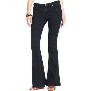 Jessica Simpson Womens Juniors Dreamer Skinny Flare Jeans Mid-Rise Dark Wash