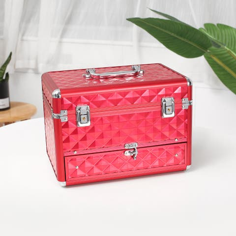 Beauty Vanity Makeup Case with Mirror Portable Cosmetic Holder Red