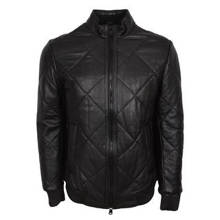 BOSS Hugo Boss Men's Black Quilted Lambskin Leather Biker Jacket 36R
