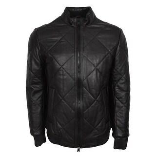 BOSS Hugo Boss Men's Black Quilted Lambskin Leather Biker Jacket 44R