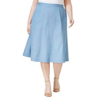 NY Collection Womens Plus A-Line Skirt Chambray Pleated