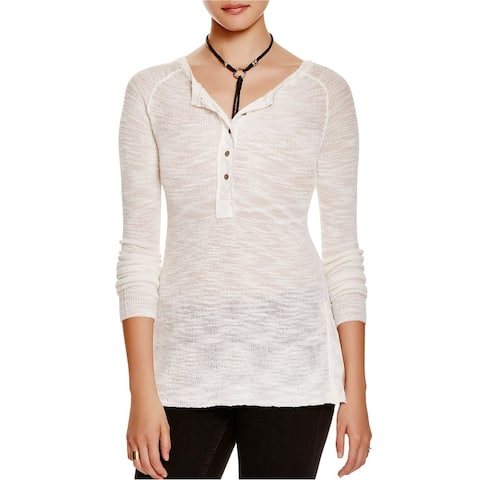 Free People Womens Mountain Song Henley Shirt, white, Small