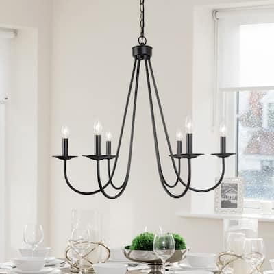 """Modern Farmhouse 6-light Black/ Gold French Candle Chandelier for Dining Room - D28""""* H24.5"""""""