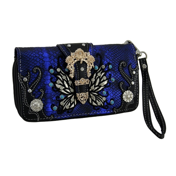 Studded Butterfly Western Floral Buckle Metallic Wallet with Removable Strap