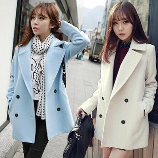 fashion women autumn and winter long thin double breasted woolen coat coat