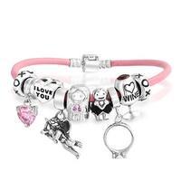 Wedding Multi European Bead Charms Bracelet Pink Genuine Leather For Women 925 Sterling Silver Barrel Clasp