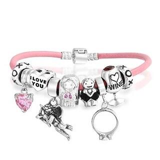 Bling Jewelry 925 Silver Wedding Wine Pink Heart CZ Enamel Charm Bracelet