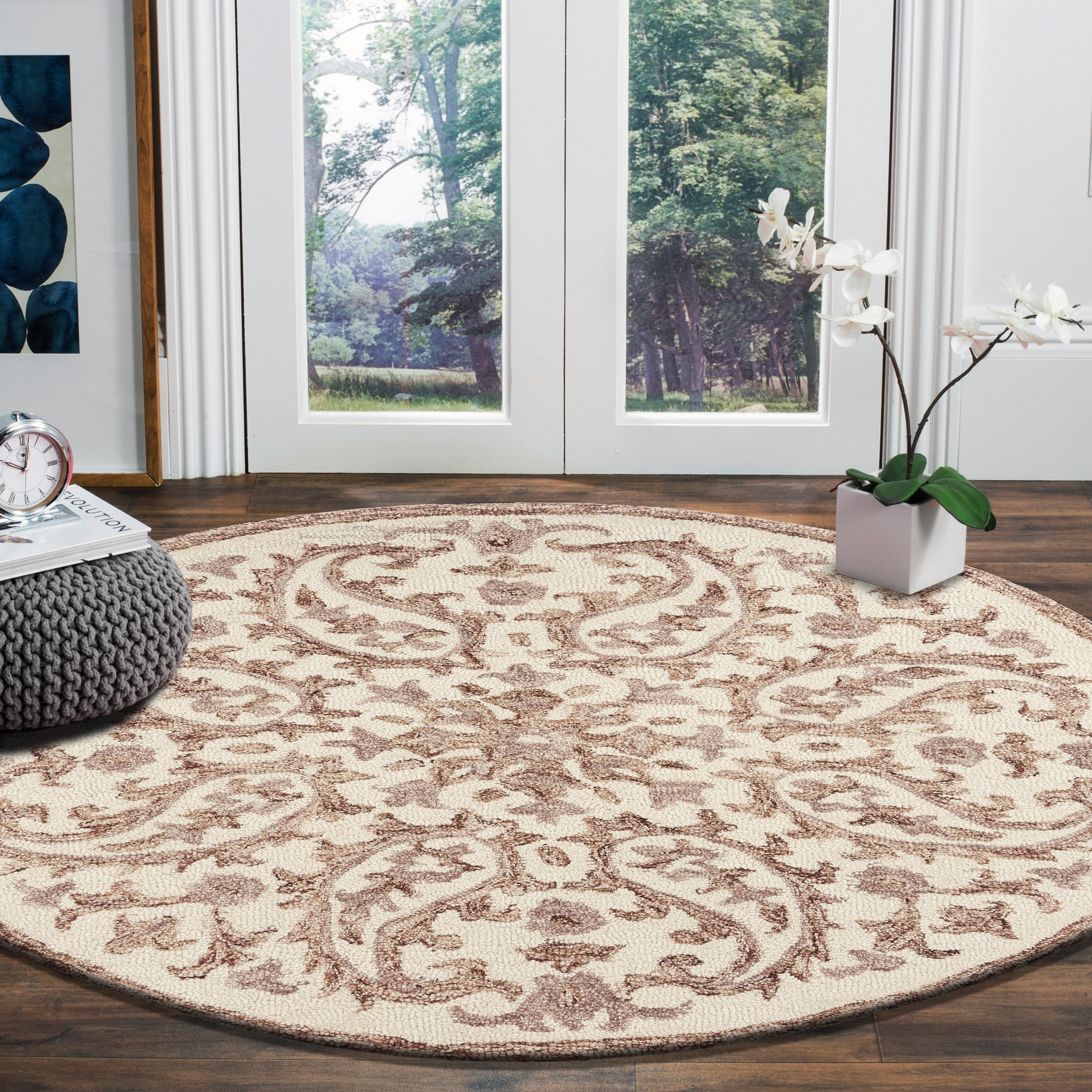 Lr Home Hand Tufted Dazzle Ivory Red Wool Rug On Sale Overstock 23150330 6 Round