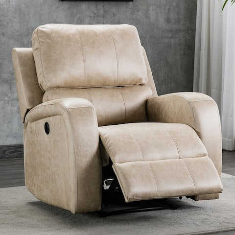 Electric Faux Suede Leather Recliner Chair Sofa with USB Charge Port
