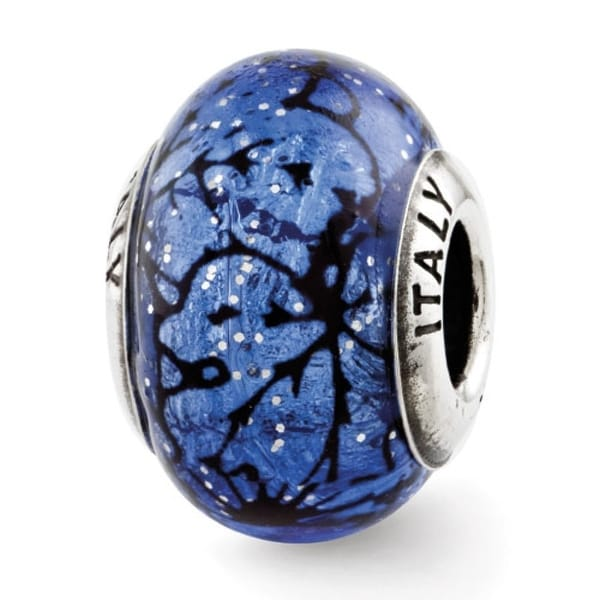 Italian Sterling Silver Reflections Blue with Black Lines Murano Glass Bead (4mm Diameter Hole)