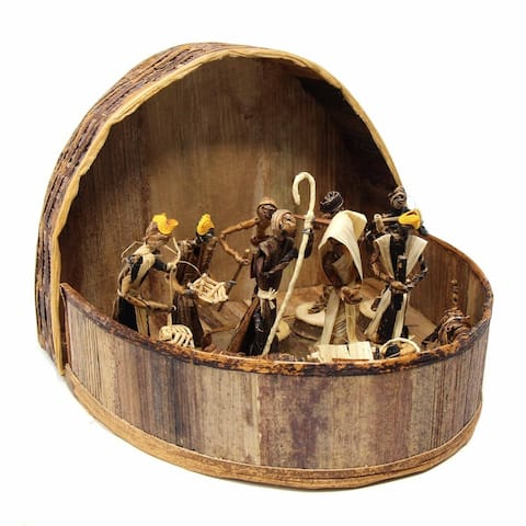Banana Fiber Handmade Arched Nativity Set (Kenya)