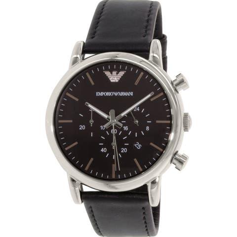 Emporio Armani Men's Classic Black Leather Japanese Quartz Dress Watch