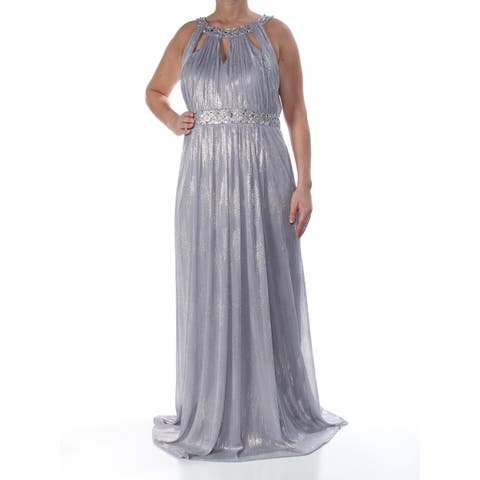 71163c7043ac JESSICA HOWARD Womens Silver Embellished Cutout Sleeveless Jewel Neck  Full-Length Empire Waist Formal Dress