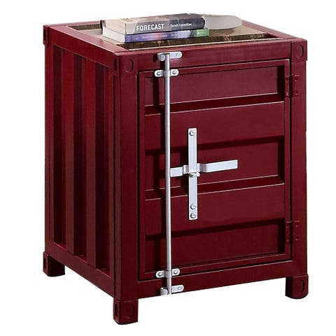 Industrial Style End Table with Sliding Door Storage, Red