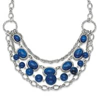 Silvertone Blue Glass Beads Necklace - 16in