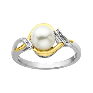 7 mm Freshwater Pearl Ring with Diamonds in Sterling Silver and 10K Gold