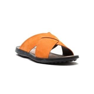 Tod's Men's Suede Ciabatta Sottopiede Cuoio Fondo Nu Sandal Shoes Orange