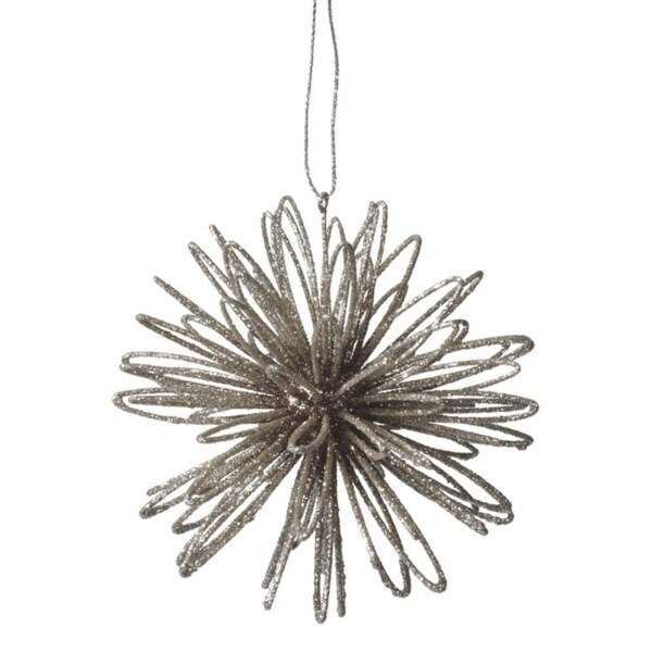 """4"""" Silent Luxury Silver Glitter Drenched Swirl Ball Christmas Ornament"""