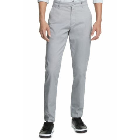 DKNY Mens Pants Heather Gray Size 38x32 Chino Stretch Bedford Straight