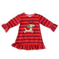 Little Girls Red Stripe Reindeer Applique Long Sleeve Christmas Dress 6