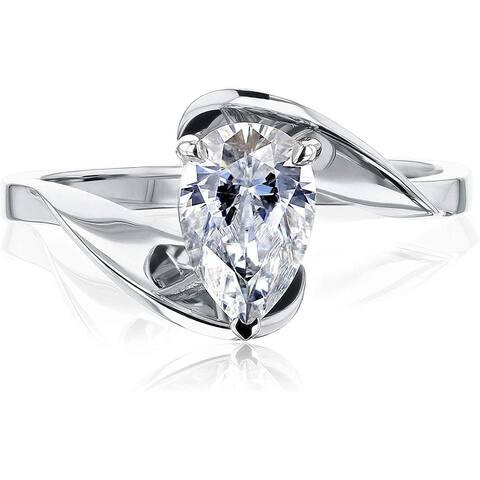Annello by Kobelli 14K Gold Fanning Bypass Pear Moissanite Ring (FG/VS)