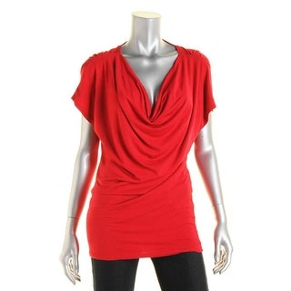 Loveappella Womens Pullover Top Cowl Neck Open Back