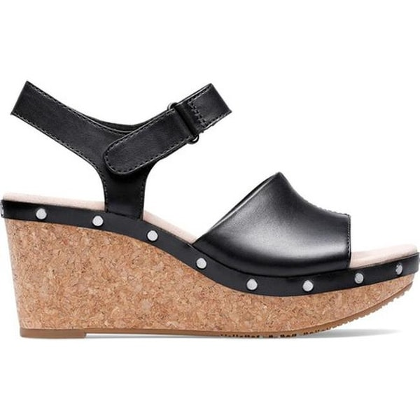 66e9e89a7f12 Shop Clarks Women s Annadel Clover Wedge Sandal Black Leather - Free  Shipping Today - Overstock - 27346866