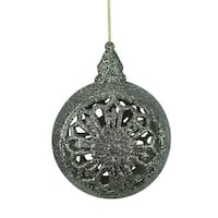 "4.5"" Silver Glitter Drenched Floral Cut-Out Christmas Ball Ornament"