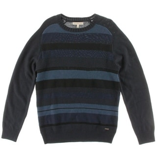 Calvin Klein Jeans Mens Striped Knit Crewneck Sweater