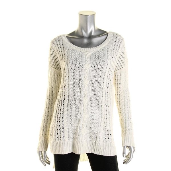 Aqua Womens Pullover Sweater Cable Knit Hi-Low