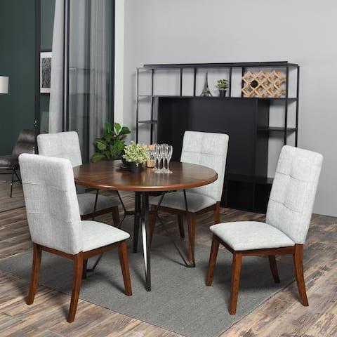 FurnitureR 5 Pieces Contemporary Wood Dining Set