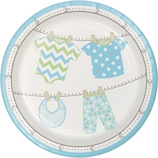 """Club Pack of 96 Sky Blue and Ivory Bundle of Joy Baby Boy Disposable Luncheon Plates 7"""""""