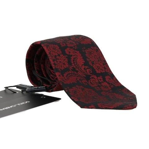 Dolce & Gabbana Black Silk Bordeaux Floral Pattern Men's Tie - One Size