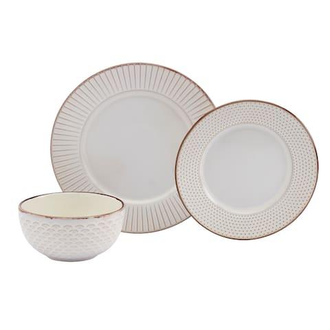 Tabletops Gallery Monroe 12PC Embossed Ivory Round Dinnerware Set - N/A