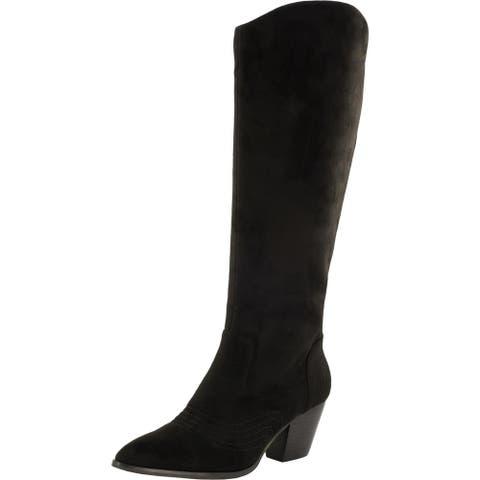 Bella Vita Womens Evelyn Knee-High Boots Faux Suede Pointed Toe - Black/Suede